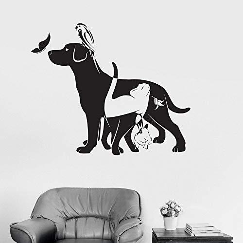ZJfong hond kat vogel konijn dier dierenarts Vinyl muur Decal Home Decor DIY kunst muurschildering muurstickers 57x62cm