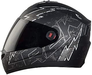 Steelbird SBA-1 R2K LIVE Full Face Helmet in Matt Finish with Smoke Visor (Large 600 MM, Matt Black/Grey)