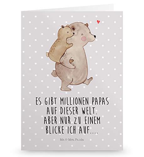 Mr. & Mrs. Panda Geburtstagskarte, Hochzeitskarte, Grußkarte Papa Bär mit Spruch - Farbe Grau Pastell