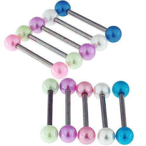 10 unidades de bolas de perlas UV con calibre 14 316L de acero quirúrgico