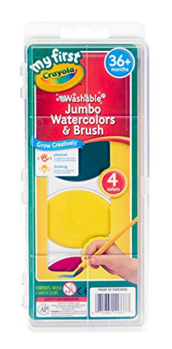 Crayola My First Washable Watercolors & Brush, Large Paints, Toddler Art Supplies, 4 Count