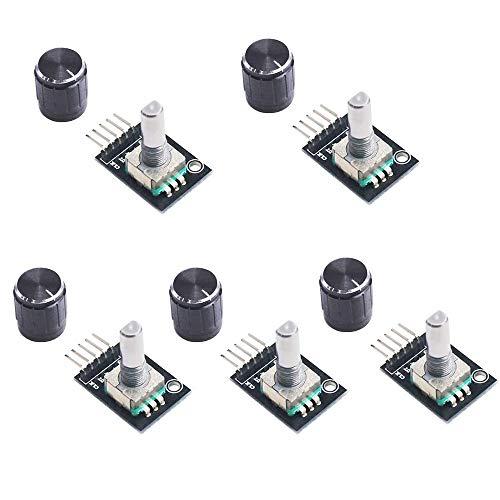 Sun3drucker 5Stk KY-040 Rotary Encoder Module Brick Sensor Development Board 360 Grad Drehgeber Drehwinkelgeber mit Druckknopf für Arduino,Raspberry Pi