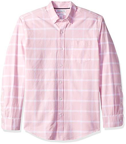Amazon Essentials Regular-Fit Long-Sleeve Windowpane Pocket Camicia, Rosa (Pink Pin), US S (EU S)