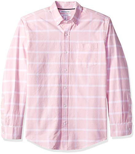 Amazon Essentials Regular-Fit Long-Sleeve Windowpane Pocket Camicia, Rosa (Pink Pin), US S (EU S)