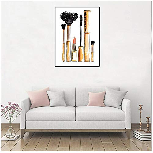 Zhaoyangeng Make-up penseel Kunst Canvas Schilderen Muurfoto's Art Print Mode Make-up Borstel Kunst Poster voor Woonkamer Decor- 50X70Cm/Unframed