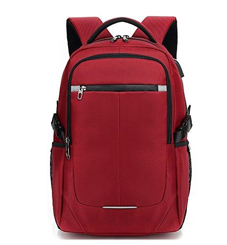 beibao shop Backpack Sacs à Dos pour Ordinateur Portable Commerce Casual Épaules Étudiants Cartable Extérieur Voyager Multi-Fonctionnel Sac à Dos d'ordinateur, Red