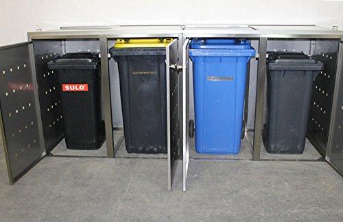 Resorti Mülltonnenbox Basic Edelstahl Kombi 4er 120 / 240 Liter - 3