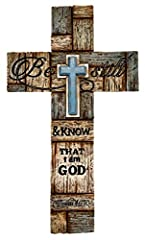 "PSALM 46:10 - Be Still & Know that I am God EASY INSTALLATION - saw tooth metal hanger on back. AMAZING details - layered cross looks like real wood. MEASURES - 12"" x 7"" x 1/2"". Perfect for any room of the house. DURABLE - made from hard poly-resin m..."