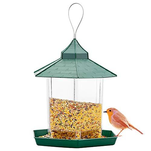 Comedero para Pájaros de Acrílico, Comedero Aves Colgante Transparente y Verde para Jardín o Exterior - 23 x 20 x 15 cm