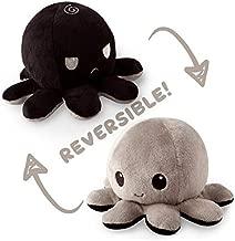 TeeTurtle Reversible Octopus Mini Plush - Stuffed Animal Toy, Black/Gray