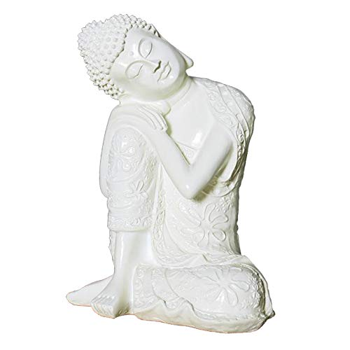 simhoa 23cm White Resin Sleeping Buddha Statue Creative Crafts Home Decoration Sculpture Gift,Bring Good Luck and auspiciousness