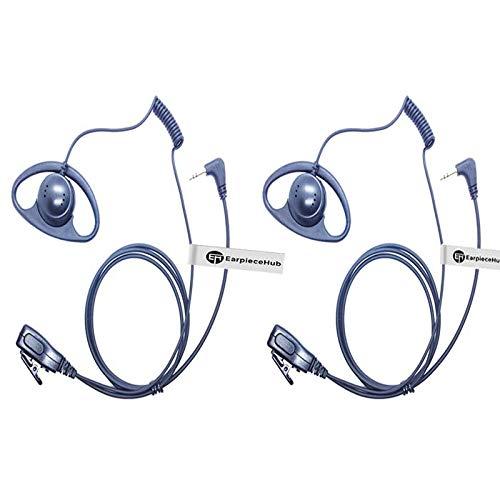 Lote 2 x auriculares en forma de D de seguridad policial en línea PTT micrófono micrófono para 1 Pin Motorola TLKR COBRA HYT/HYTERA 2 vías Radios Walkie Talkie