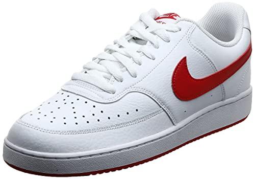 Nike Court Vision Lo, Zapatilla de Baloncesto Hombre, White/University Red, 43 EU