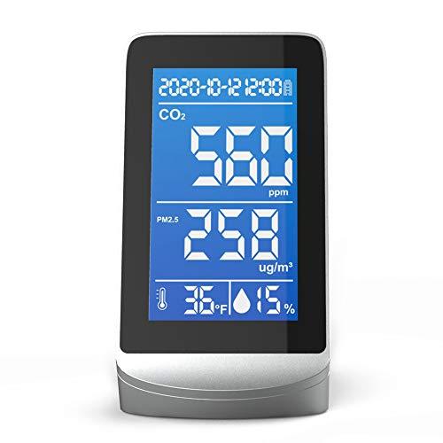 Kstyhome Tragbarer Luftqualitätsanalysator Digitalanzeigebildschirm CO2 PM2.5 Temperatur Feuchtigkeitsdetektor Monitor Multifunktionaler Infrarot-NDIR-Detektor Desktop Home Haushalt Innen Außen