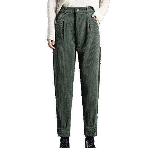 N\P Pantalones Harlem de pana para mujer, pantalones de rábano de otoño e invierno, con grueso de felpa y pantalones de cachemira versátiles casuales