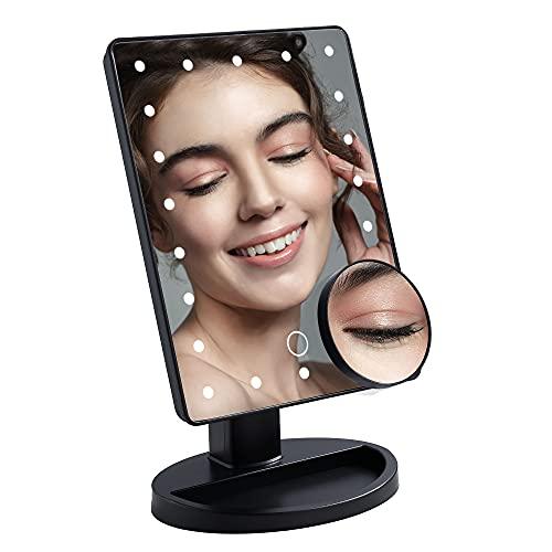 DUFU Espejo de Maquillaje con 22 Luz LED, Aumento Removible 10X Espejo de Maquillaje Fuente de Alimentación Doble Espejo Cosmético Pantalla Táctil de Mesa, Rotación de 180° Brillo Ajustable, Negro
