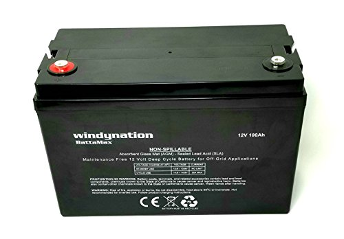 WindyNation 100 amp-Hour 100AH 12V 12 Volt AGM Deep Cycle Sealed Lead Acid Battery - Solar RV UPS Off-Grid (1 pc 100...