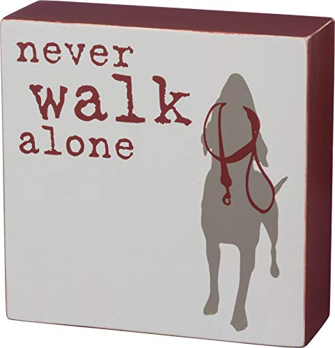 Primitives by Kathy 39153 Dog is Good Wood Box Sign, 5 x 5.5-Inches, Never Walk Alone