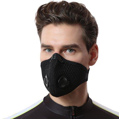 VORCOOL Staubmaske Gesichtsschutz Extra Filter Baumwolle Blatt und Ventile für Radfahren Reiten Radfahren Staubdicht Maske Outdoor-Aktivitäten, schwarz