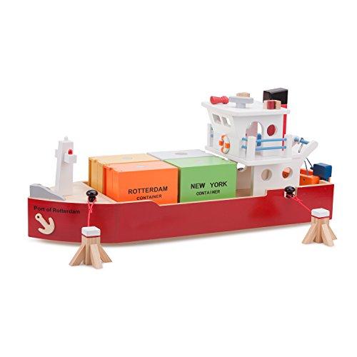 New Classic Toys Bateau Containers avec 4 Containers Jouet en Bois pour Enfant