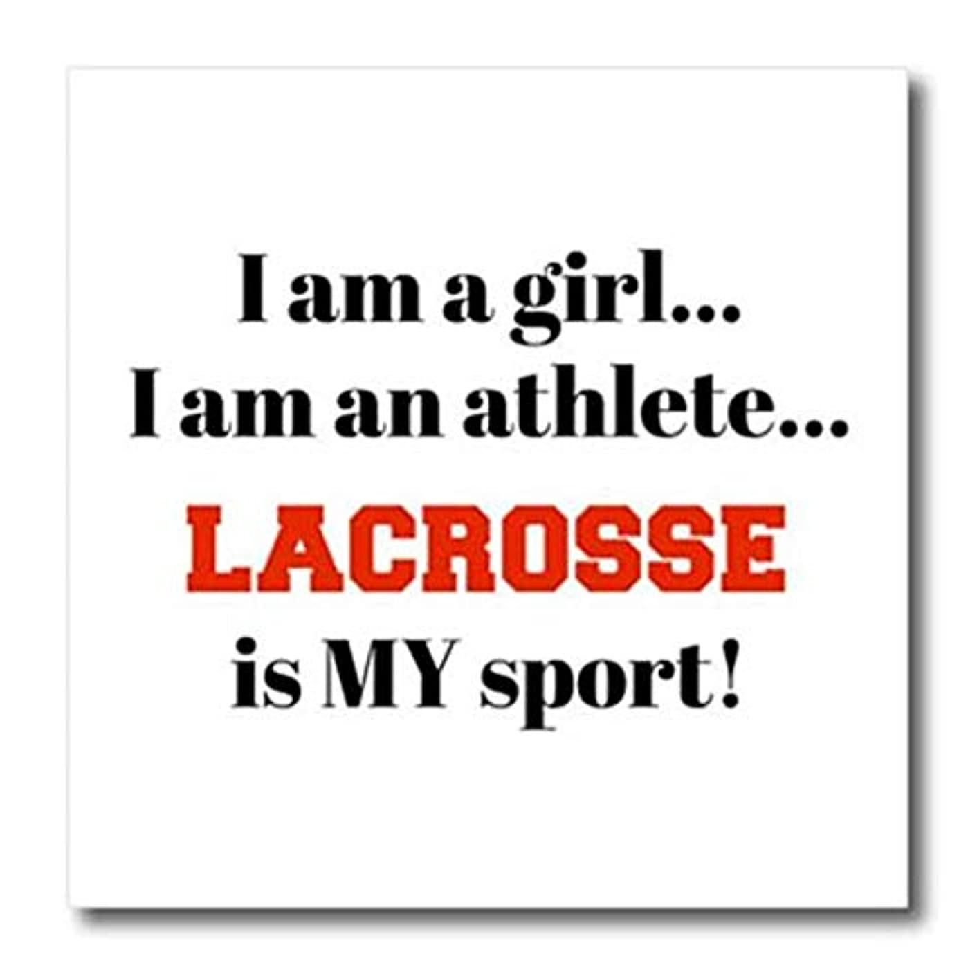 3dRose ht_265931_3 I am a Girl, I am an Athlete, Lacrosse is My Sport, Black red Letters Transfer Paper 10