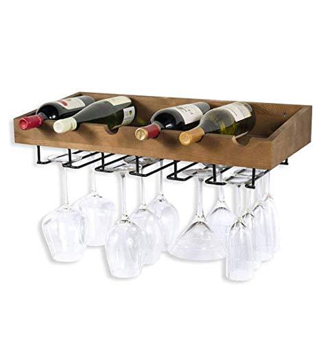 Organizador de almacenamiento de cocina de gabinete de vino Soporte de pared de estante de vino vintage de metal para 5 botellas de pie libre | LOFT Estante de madera para almacenamiento con estante