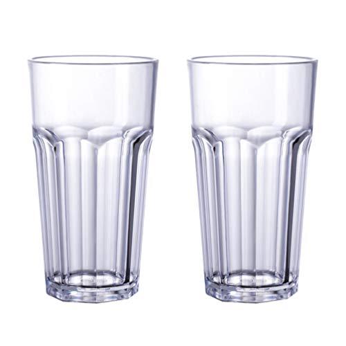 Cabilock 2 stuks drinkglazen acryl helder acryl drinkglas mokken onbreekbare glazen waterbeker glaswaren set (gemiddeld 350 ml)