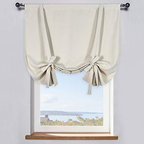 Cream Beige Room Darkening Tie-Up Valance Curtain - Decoration Balloon Shade Corner Window Drape (42 inches W x 45 inches L,1 Panel)