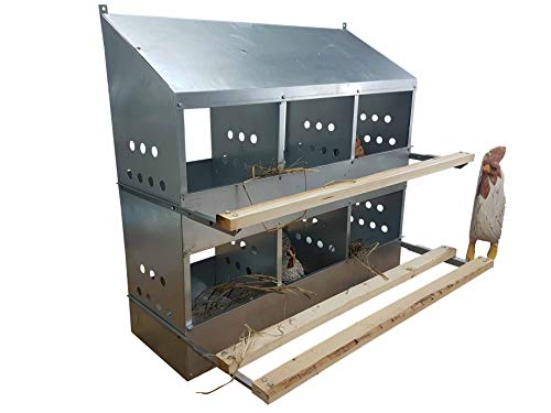 6 HOLE HEAVY DUTY 23ga GALVANIZED CHICKEN NESTING LAYING ROOST BOX MADE IN GERMANY | High front and back panels | Easy to remove and clean | Heavy duty perches hinged upward | Rust resistant 0300112