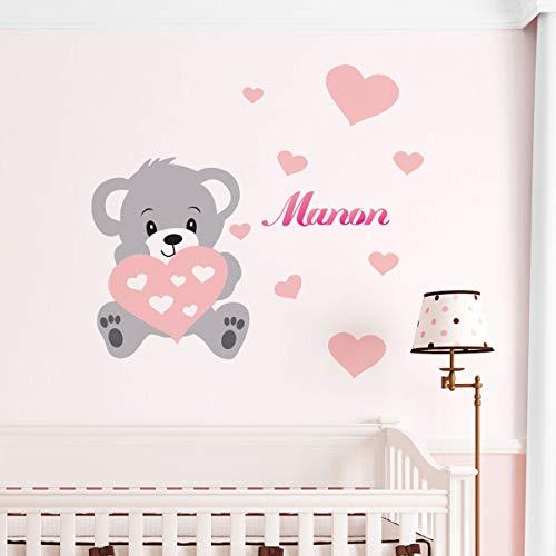 Ambiance Sticker Pegatinas Personalizadas con Nombre Personalizado, diseño de Oso – Decoración de Pared para habitación Infantil Bébé – 2 láminas de 30 x 35 cm y 50 x 30 cm – Tono de Rosa