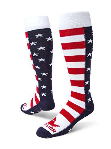 Red Lion Brave Patriotic Knee High American Made Socks (Navy Blue/White/Red - Medium/Large)