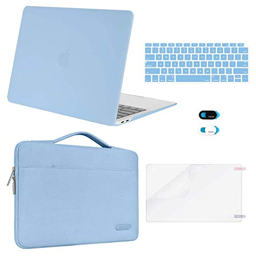 MOSISO MacBook Air 13 inch Case 2020 2019 2018 Release A2179 A1932, Plastic Hard Shell&Sleeve Bag&Keyboard Cover&Webcam Cover&Screen Protector Compatible with MacBook Air 13 inch Retina, Airy Blue