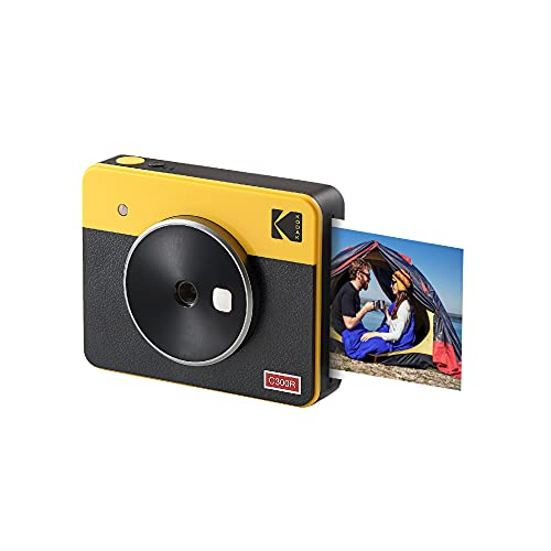 Kodak Mini Shot 3 Retro Cámara Instantánea Portátil e Impresora Fotográfica, iOS, Android y Bluetooth, 76x76 mm, Tecnología 4Pass, 8 Hojas - Blanco