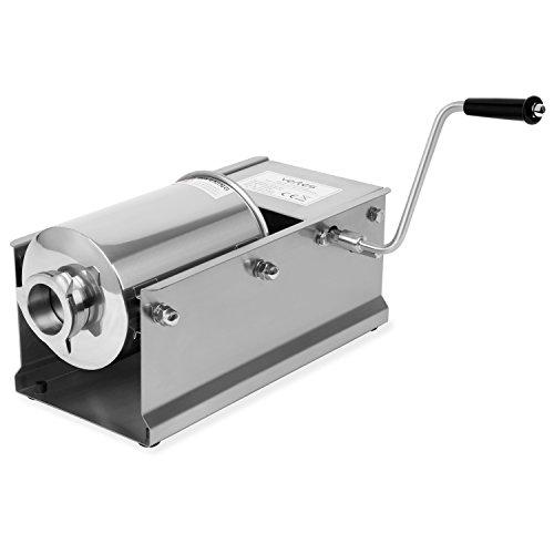 Vertes 3 Liter Wurstfüllmaschine aus Edelstahl (inkl. 4 Fülltüllen aus Edelstahl Ø 16, 22, 32 und 38 mm, 2-Gang Getriebe, 3 zusätzliche Ersatzdichtungen)