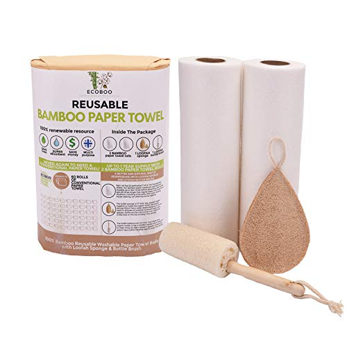 Bamboo Paper Towels Reusable Washable - 2 Rolls 1 Year Supply & Natural Loofah Sponges For Kitchen   Eco Friendly Paper Towel Alternative For Heavy Duty Cleaning   Zero Waste Unpaper Towels