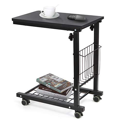 SIMFLAG サイドテーブル ソファ ベッドサイドテーブル ナイトテーブル コの字型デザイン 昇降式 キャスター付き 可移動デスク リビングテーブル ミニ テーブル (ブラック)