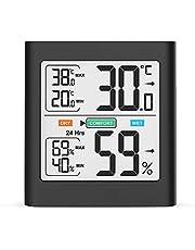 HOPLAZA Termómetro Higrometro Digital para Interior Medidor de Temperatura y Humedad Registros Mínimos/Máximos Pantalla LCD para Medir Ambiente del Hogar (Negro)
