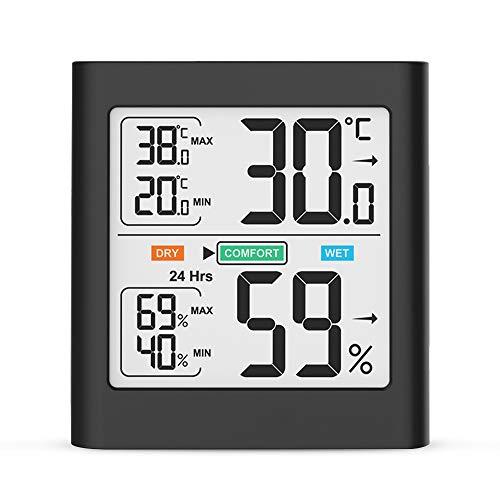 Thermometer Hygrometer Innen, Temperatur und Luftfeuchtigkeitmessgerät mit MIN/MAX-Aufzeichnungen Weiße Hintergrundbeleuchtung Komfortanzeige für Babyraum, Wohnzimmer, Büro, usw