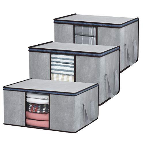 DIMJ Juego de 3 Bolsa de Almacenamiento de Ropa Plegable Gran Capacidad Bajo la Cama Organizador de Edredones con Ventana Transparente para Edredones Mantas Ropa