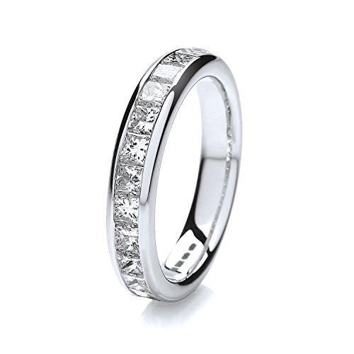 18ct White Gold 4mm Slight Court Comfort Ladies Half Eternity Diamond Wedding Band/Ring Princess Cut 1.30 Carat G - VS WJS1872418KW