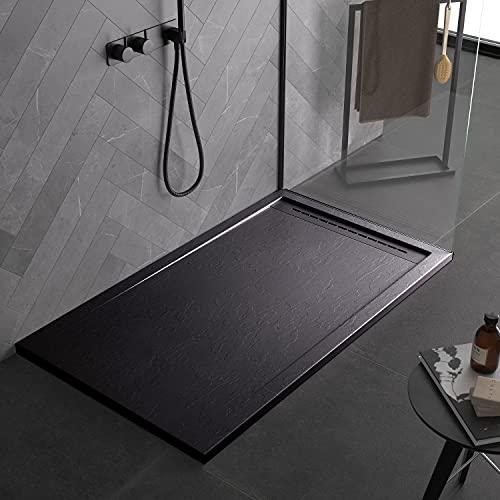 Piatto doccia nero, in mineralmarmo, con effetto pietra ardesia, serie Paris, slim 3 cm, rivestito di Gelcoat, antiscivolo (70x170)