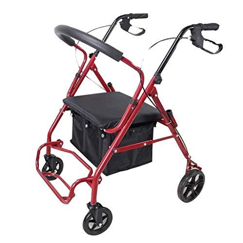 PNYGJZXQ Rolling Walkers Einkaufswagen Faltbarer Rollstuhl Reha-Helfer for ältere Menschen Tragbarer Aufbewahrungsroller mit einem Geschenk for den Einkaufskorb (Farbe : Rot)
