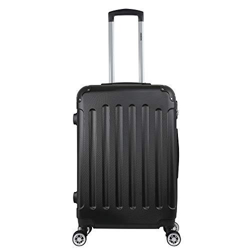 Arebos Eco Hartschalen Koffer Rollkoffer Reisekoffer Handgepäck aus ABS Material mit Zahlenschloss und 4 Rollen (schwarz, L)