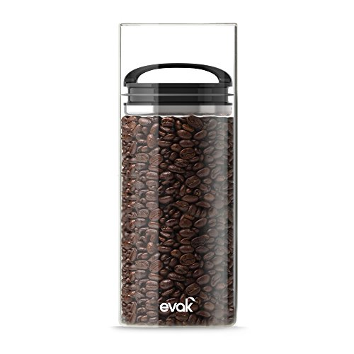 Best PREMIUM Airtight Storage Container for Coffee Beans, Tea and Dry Goods - EVAK - Innovation that Works by Prepara, Glass and Stainless, Compact Black Gloss Handle, Large - 3020