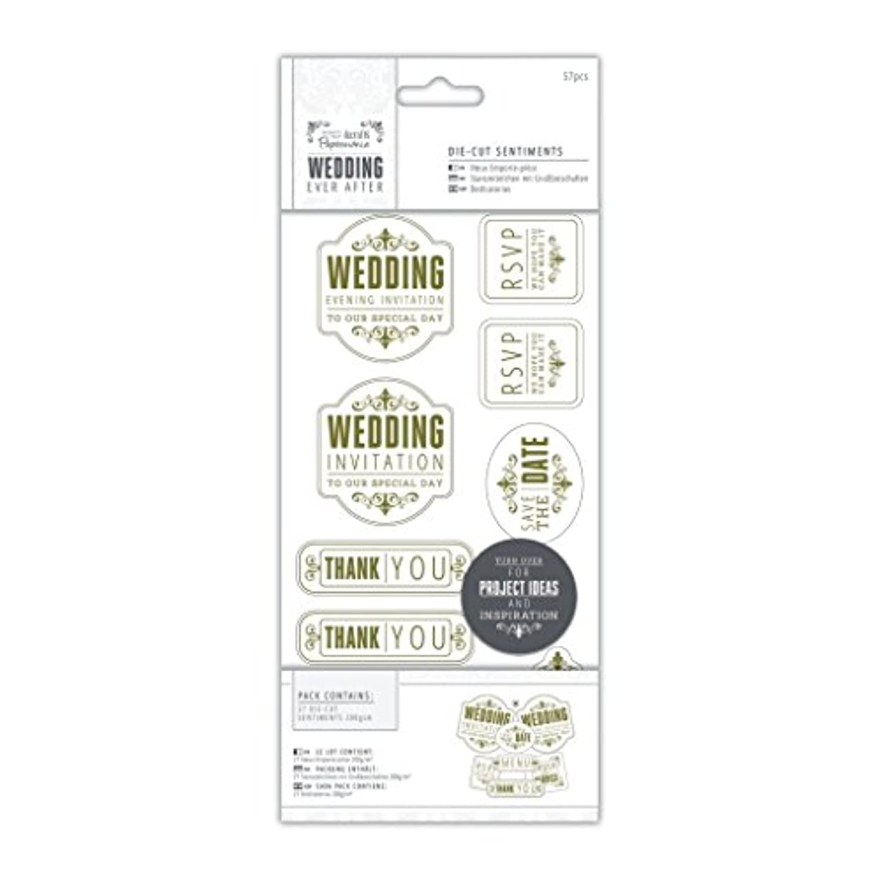 Papermania 4 x 8-Inch 57-Piece Sentiments Wedding Die-Cut, Mixed/Gold/White