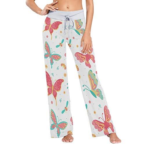 AJINGA Red Butterflies Insect Flowers Plant Pajama Pants Casual Stretch Pant Drawstring Palazzo Lounge Pants Wide Leg