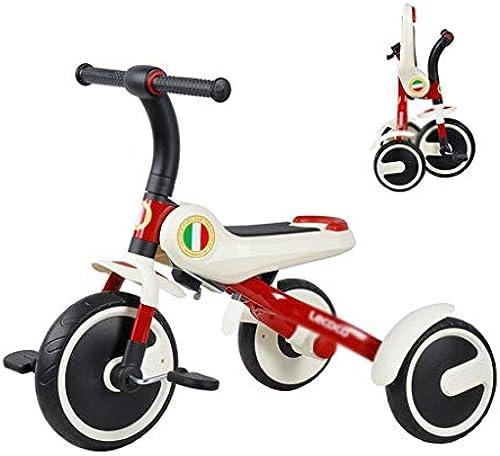 Kinderfürr r Falten Kinder fürrad Kinder Dreirad Junge mädchen Roller Ausgewogene Dreirad Puzzle Walker Geschenk Für Kinder Last Lager 25 Kg (Farbe   rot - Weiß, Größe   60  72  5cm)