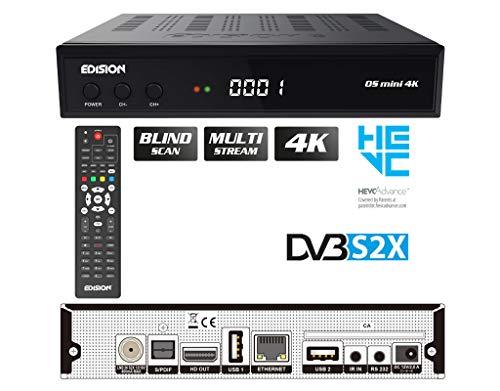EDISION OS Mini 4K S2X - Linux E2 SAT Receiver H.265/HEVC (1x DVB-S2X, Multistream, Blind Scan, 4K 2160p, 2X USB, HDMI, LAN, Fernbedienung 2in1, Kartenleser) [vorprogrammiert für Astra Hotbrid ]