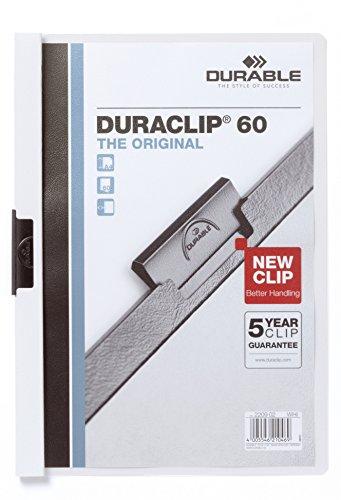 Durable 223802 Klemm-Mappe Duraclip Original 60 (Hartfolie, bis 60 Blatt A4) Beutel à) 5 Stück weiß