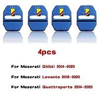 HXKGSMG 高品質のステンレススドアロックカバー4pcs3Dステンレス鋼カーアクセサリーインテリアカードアロックカバー。 ためにマセラティギブリレバンテクアトロポルテ (Blue)
